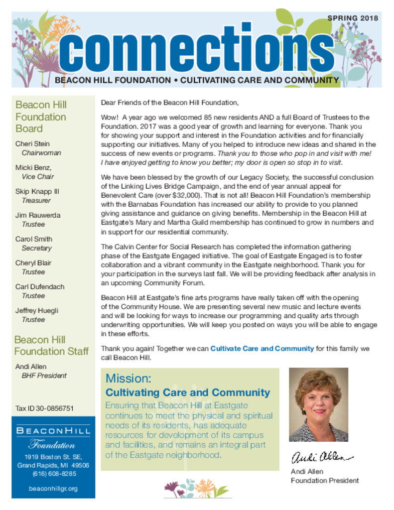 PDF Newsletter of Beacon Hill, Assisted Living, Nursing Home, Independent Living, CCRC, Grand Rapids, MI - 13043-C00297^bhnewssprng18_snglpg_3618-1^6_pg