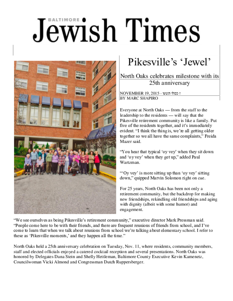 PDF Newsletter of North Oaks, Assisted Living, Nursing Home, Independent Living, CCRC,  Pikesville, MD - 14309-C01164^NO25-Jewish-Times^4_pg