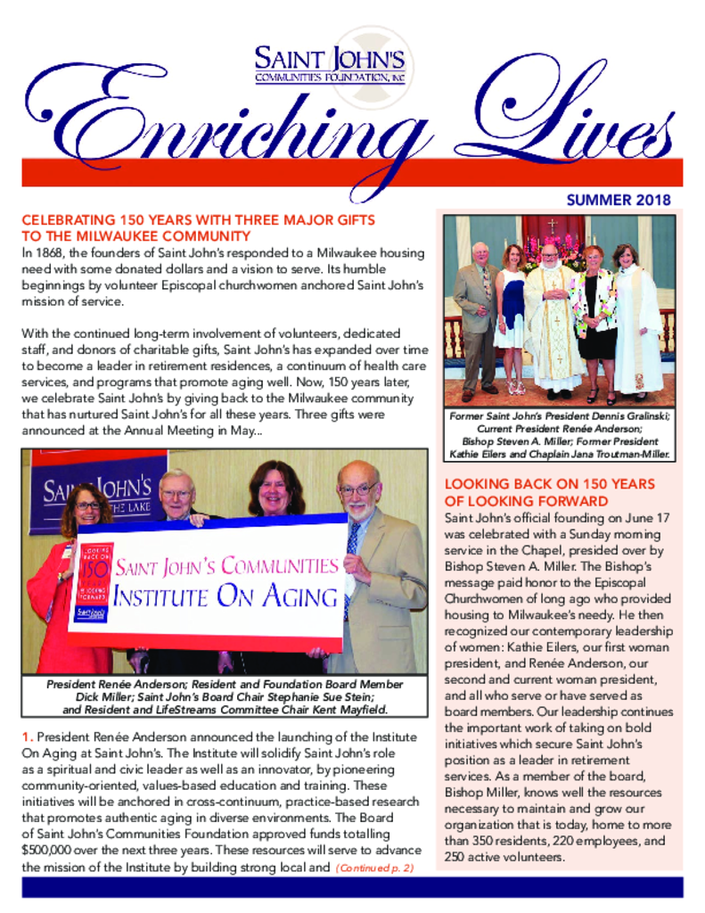 PDF Newsletter of Saint John on the Lake, Assisted Living, Nursing Home, Independent Living, CCRC, Milwaukee, WI - 15933-C01226^Enriching-Lives-SUMMER-2018-EMAIL^4_pg