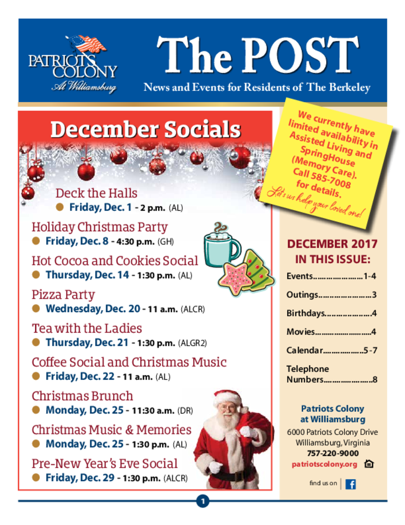 PDF Newsletter of Patriots Colony, Assisted Living, Nursing Home, Independent Living, CCRC, Williamsburg, VA - 19834-C01407^The-Post-DEC^8_pg