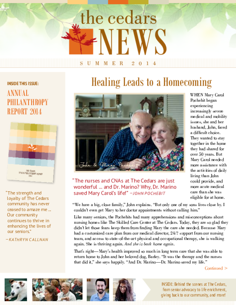 PDF Newsletter of The Cedars Maine, Assisted Living, Nursing Home, Independent Living, CCRC, Portland, ME - 22607-C00287^TheCedarsNews_June2014_WEB^5_pg