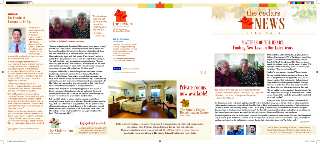 PDF Newsletter of The Cedars Maine, Assisted Living, Nursing Home, Independent Living, CCRC, Portland, ME - 22608-C00287^The-Cedars-News-November-2014-FINAL