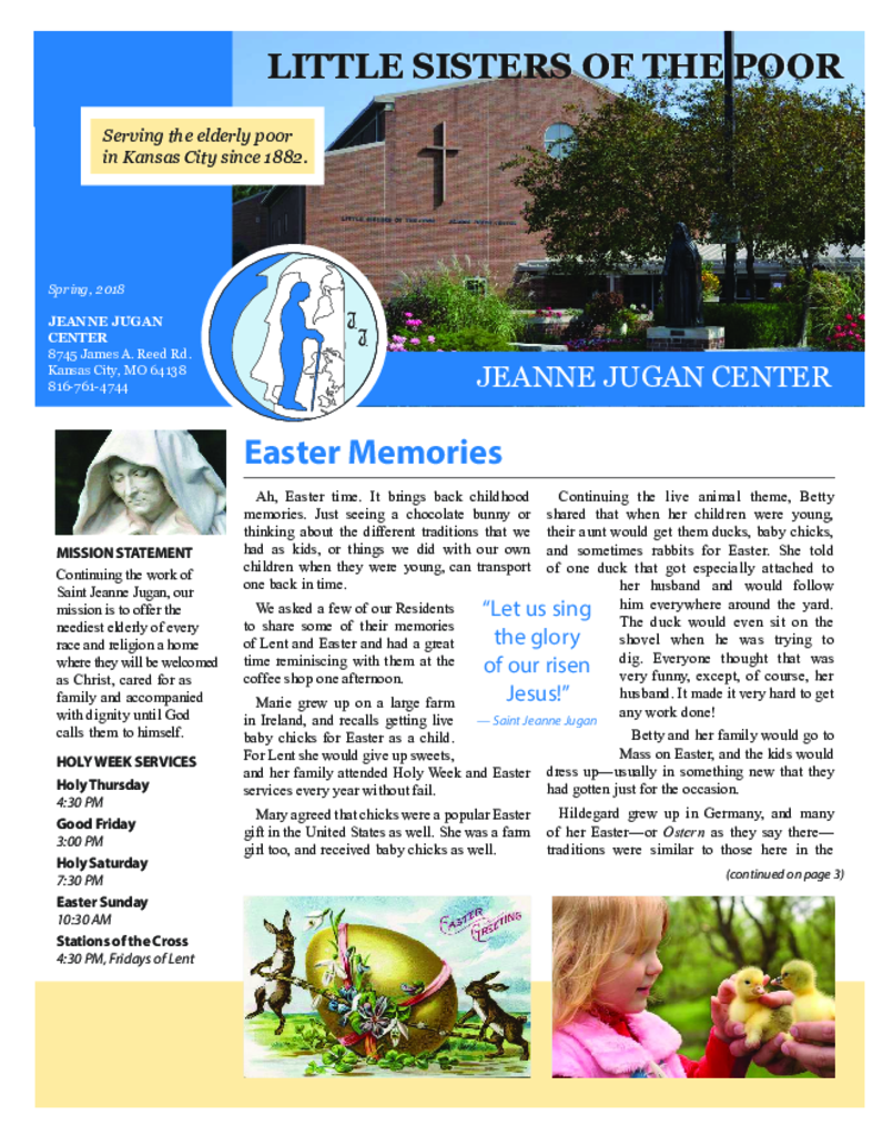 PDF Newsletter of Jeanne Jugan Center - Kansas City, Assisted Living, Nursing Home, Independent Living, CCRC, Kansas City, MO - 24727-C01666^KC-Spring-2018^4_pg