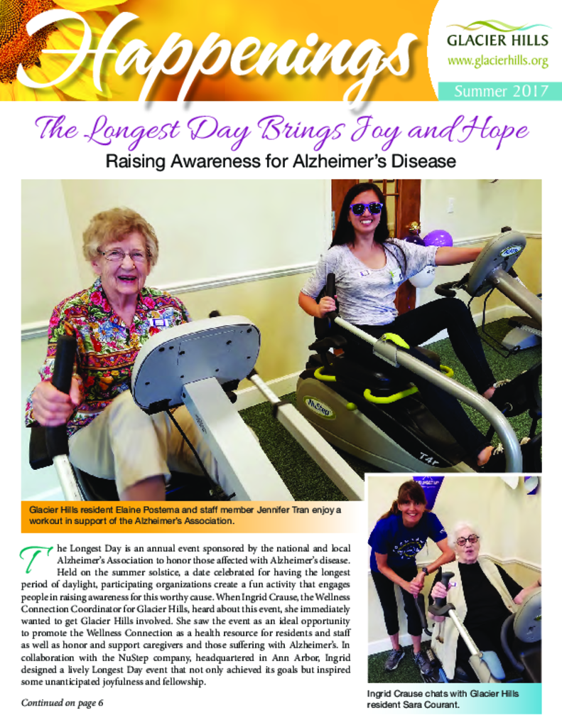 PDF Newsletter of Glacier Hills, Assisted Living, Nursing Home, Independent Living, CCRC, Ann Arbor, MI - 30635-C00292^GH-Summer-News-2017-for-web^8_pg