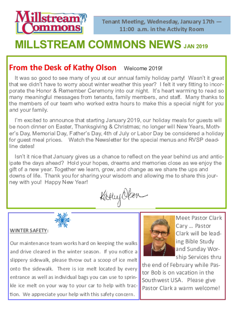 PDF Newsletter of Three Links, Assisted Living, Nursing Home, Independent Living, CCRC, Northfield, MN - 31222-C00314^January-2019-MC-Newsletter^2_pg