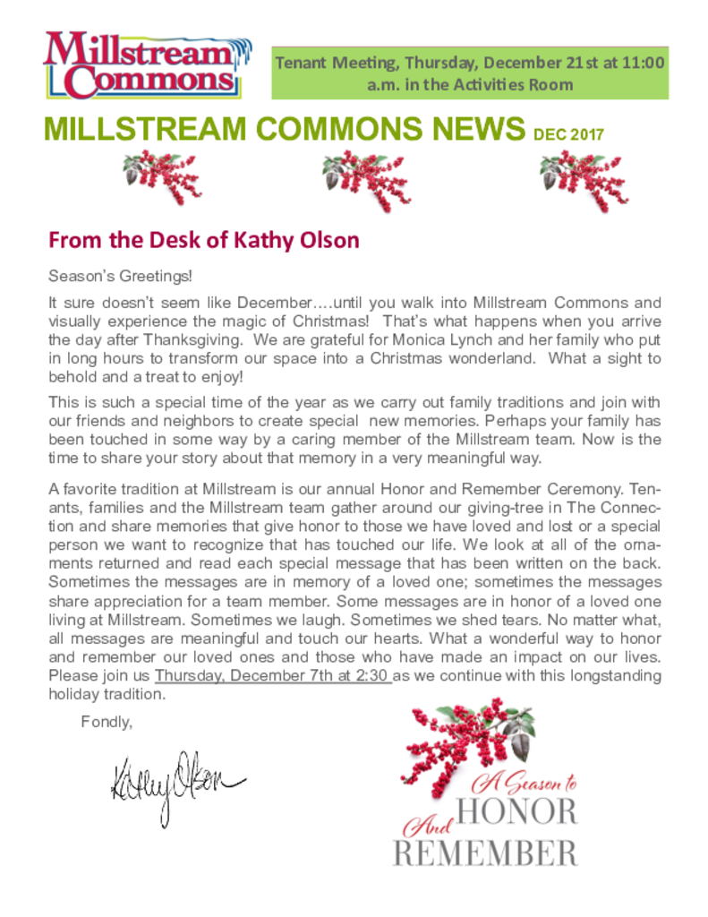 PDF Newsletter of Three Links, Assisted Living, Nursing Home, Independent Living, CCRC, Northfield, MN - 31223-C00314^Millstream-newsletter-12-2017^2_pg