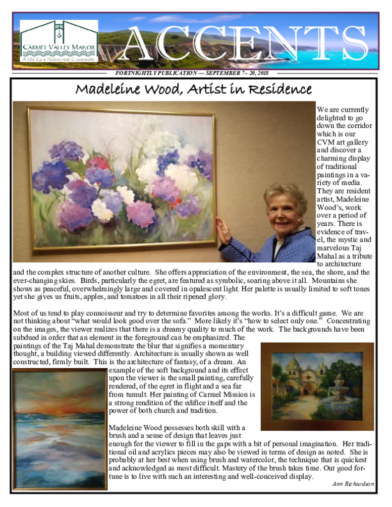 PDF Newsletter of Carmel Valley Manor, Assisted Living, Nursing Home, Independent Living, CCRC, Carmel, CA - 3145-C00026^Accents_2018_9