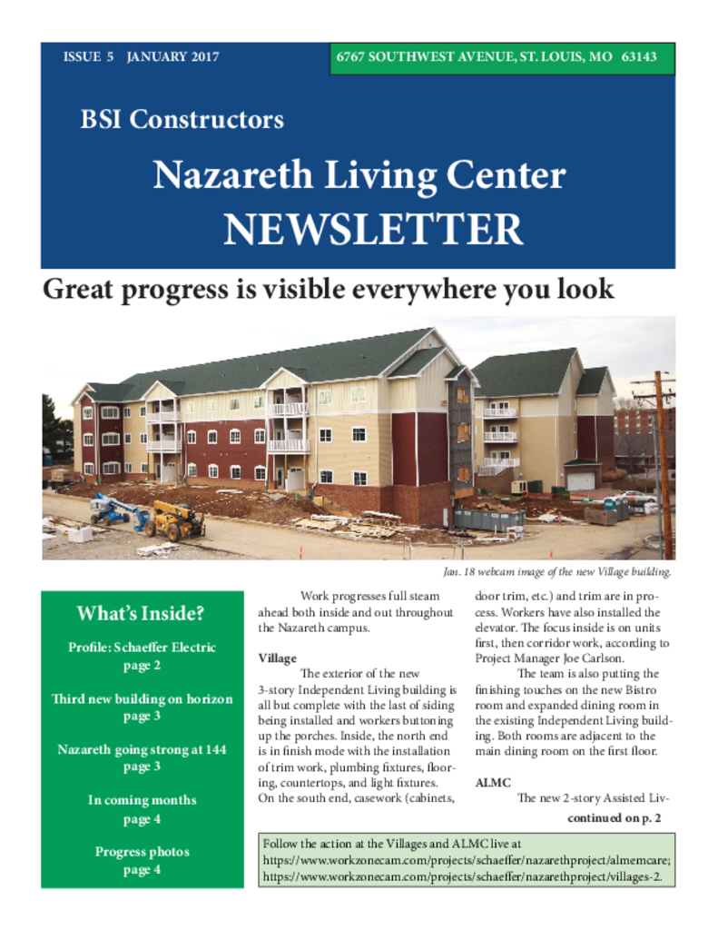 PDF Newsletter of Nazareth Living Center, Assisted Living, Nursing Home, Independent Living, CCRC, St. Louis, MO - 36176-C00731^BSIJanuary_2017_newsletter^4_pg