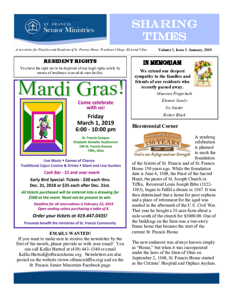 PDF Newsletter of St. Francis Senior Ministries, Assisted Living, Nursing Home, Independent Living, CCRC, Tiffin, OH - 37758-C00415^Sharing-Times-jan19^4_pg