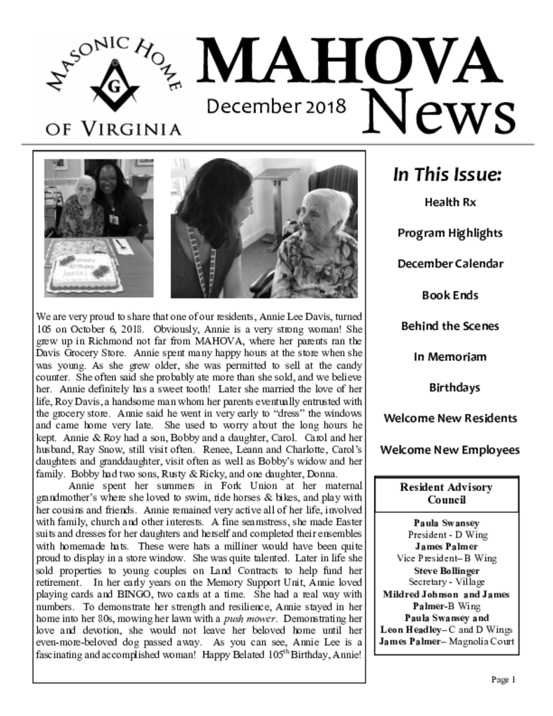PDF Newsletter of Masonic Home of Virginia, Assisted Living, Nursing Home, Independent Living, CCRC, Richmond, VA - 43607-C00589^December-2018-Newsletter^12_pg