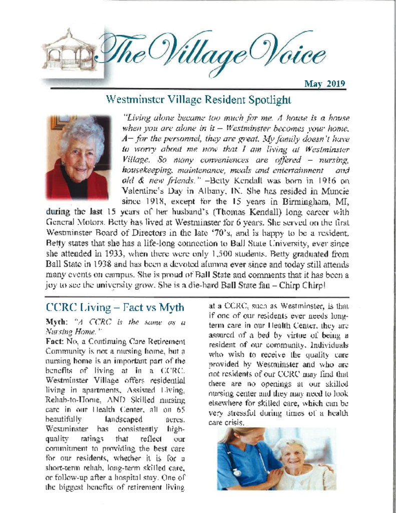 PDF Newsletter of Westminster Village Muncie, Assisted Living, Nursing Home, Independent Living, CCRC, Muncie, IN - 45531-0012_001