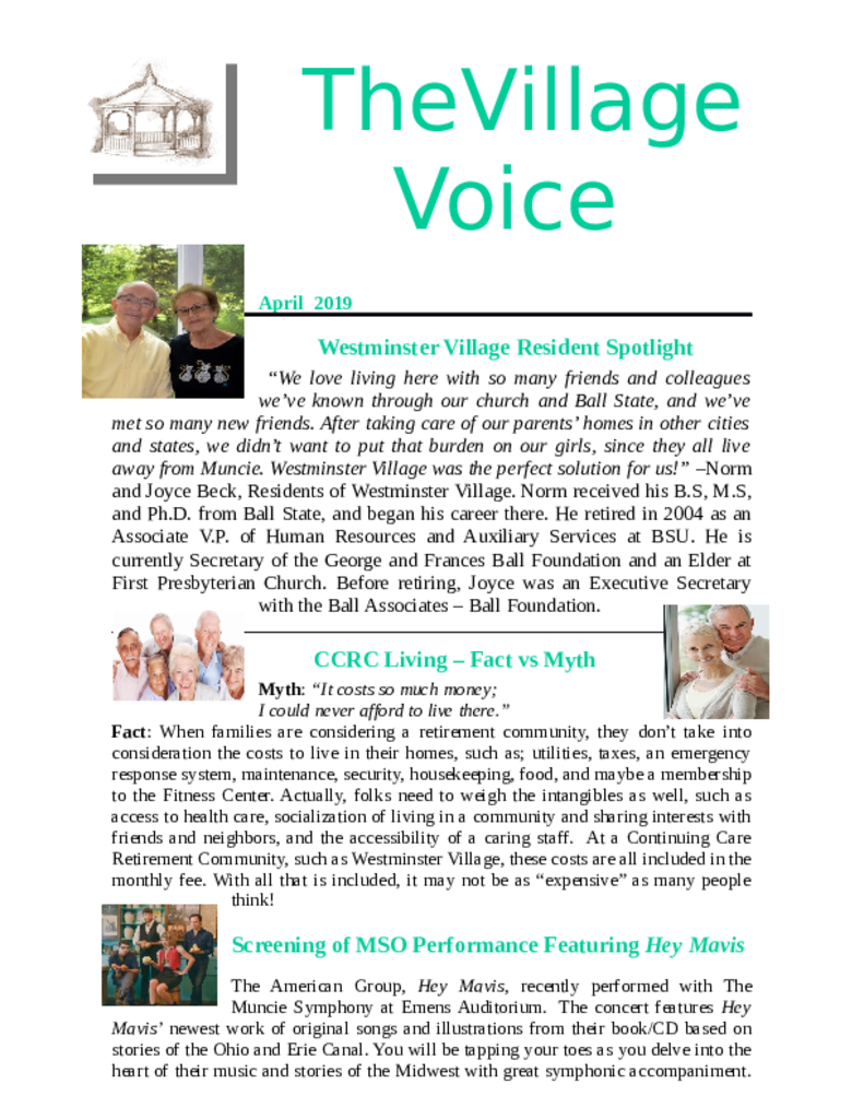 PDF Newsletter of Westminster Village Muncie, Assisted Living, Nursing Home, Independent Living, CCRC, Muncie, IN - 45532-Village-Voice-Newsletter-April-2019