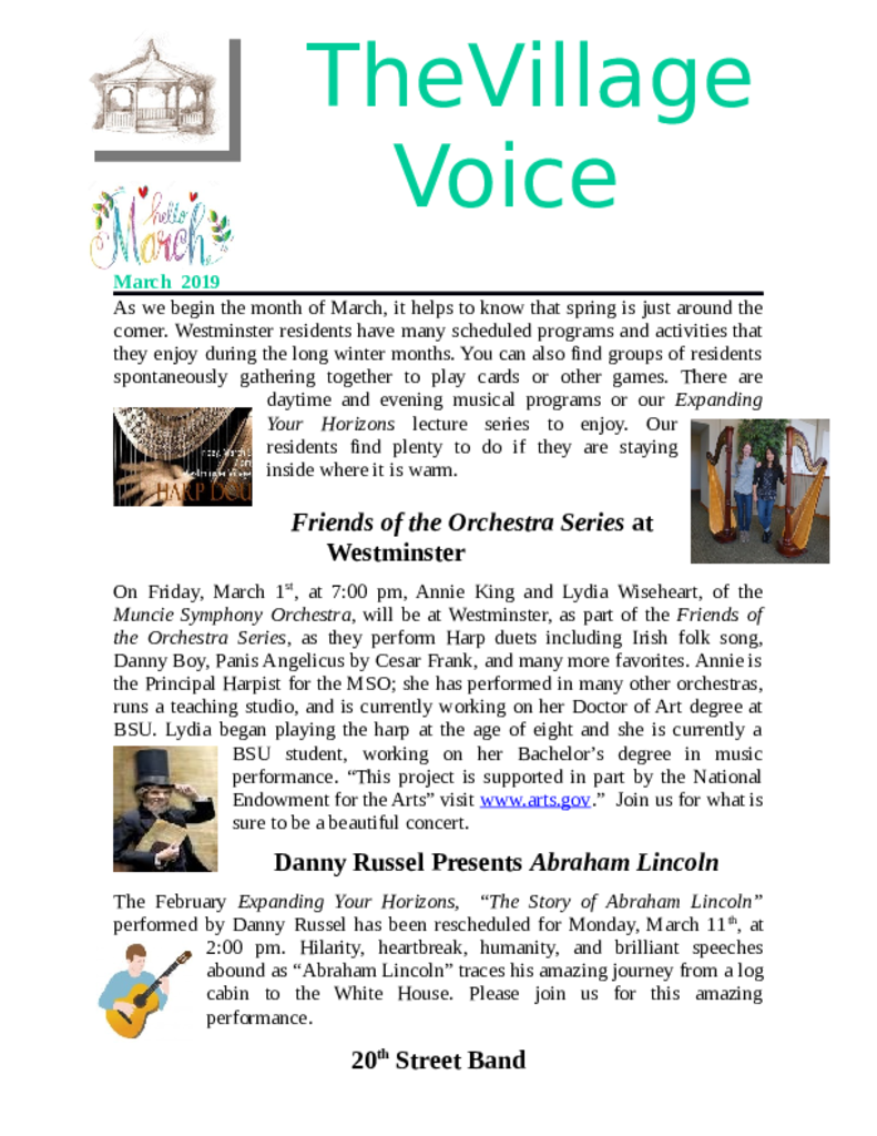 PDF Newsletter of Westminster Village Muncie, Assisted Living, Nursing Home, Independent Living, CCRC, Muncie, IN - 45533-Village-Voice-Newsleter-March-2019