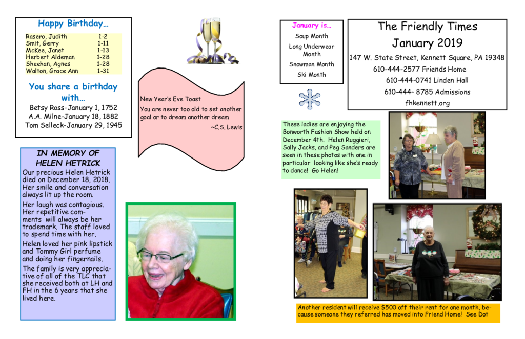 PDF Newsletter of Friends Home in Kennett, Assisted Living, Nursing Home, Independent Living, Kennett Square, PA - 46659-C01892^Jan-2019-Newsletter-FINAL^2_pg