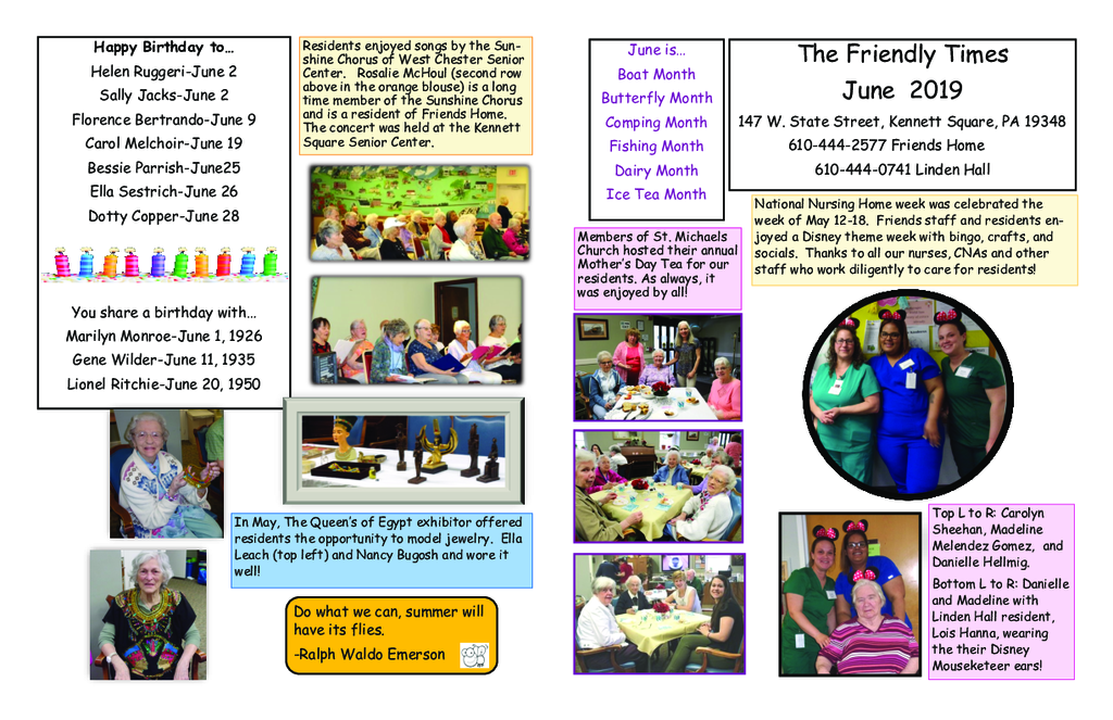 PDF Newsletter of Friends Home in Kennett, Assisted Living, Nursing Home, Independent Living, Kennett Square, PA - 46660-C01892^June-Newsletter-2019-Final^2_pg