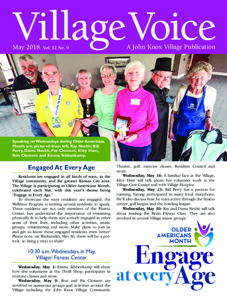 PDF Newsletter of John Knox Village, Assisted Living, Nursing Home, Independent Living, CCRC, Lees Summit, MO - 47507-C01942^May18_Voice_Cover^1_pg