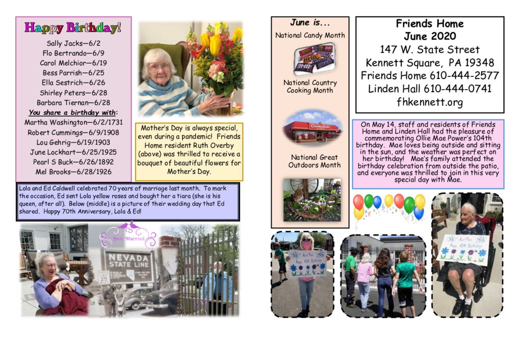 PDF Newsletter of Friends Home in Kennett, Assisted Living, Nursing Home, Independent Living, Kennett Square, PA - 49000-June-2020-Newsltr