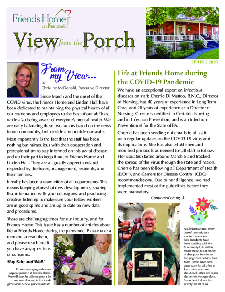 PDF Newsletter of Friends Home in Kennett, Assisted Living, Nursing Home, Independent Living, Kennett Square, PA - 49001-FHK_2020Springweb