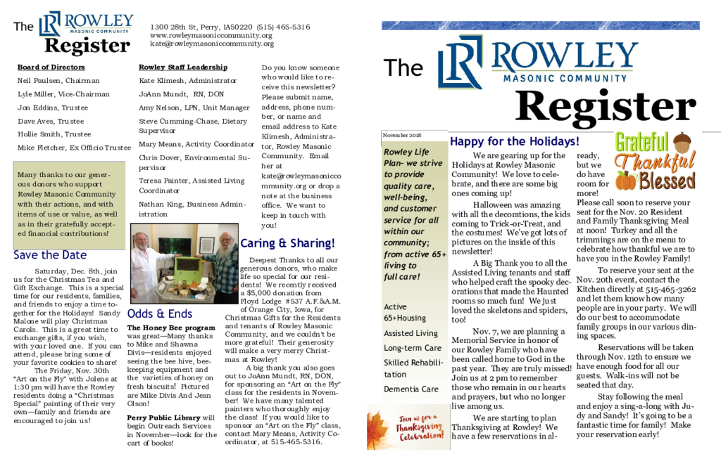 PDF Newsletter of Rowley Masonic Community, Assisted Living, Nursing Home, Independent Living, CCRC, Perry, IA - 6978-C00132^November-2018^2_pg