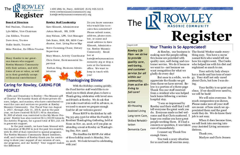 PDF Newsletter of Rowley Masonic Community, Assisted Living, Nursing Home, Independent Living, CCRC, Perry, IA - 6979-C00132^October-2018^2_pg