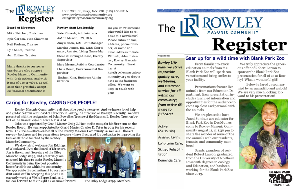 PDF Newsletter of Rowley Masonic Community, Assisted Living, Nursing Home, Independent Living, CCRC, Perry, IA - 6980-C00132^RMC-Aug-2018-News^2_pg