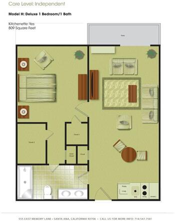 Floorplan of Town & Country Manor, Assisted Living, Nursing Home, Independent Living, CCRC, Santa Ana, CA 7
