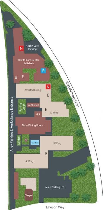 Campus Map of Town & Country Manor, Assisted Living, Nursing Home, Independent Living, CCRC, Santa Ana, CA 1