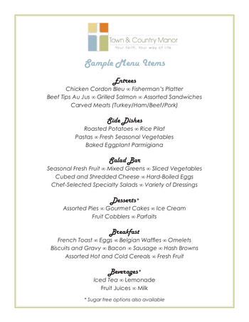 Dining menu of Town & Country Manor, Assisted Living, Nursing Home, Independent Living, CCRC, Santa Ana, CA 1