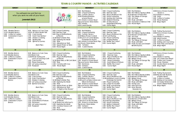 Activity Calendar of Town & Country Manor, Assisted Living, Nursing Home, Independent Living, CCRC, Santa Ana, CA 1