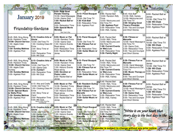 Activity Calendar of Rowntree Gardens, Assisted Living, Nursing Home, Independent Living, CCRC, Stanton, CA 2