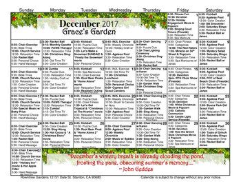 Activity Calendar of Rowntree Gardens, Assisted Living, Nursing Home, Independent Living, CCRC, Stanton, CA 3