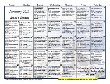 Activity Calendar of Rowntree Gardens, Assisted Living, Nursing Home, Independent Living, CCRC, Stanton, CA 4