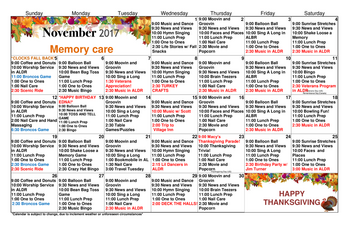 Activity Calendar of Grace Pointe Greeley, Assisted Living, Nursing Home, Independent Living, CCRC, Greeley, CO 7