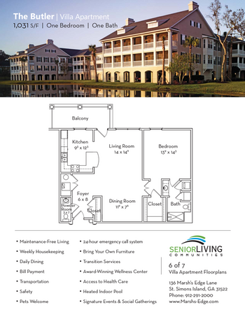 Floorplan of Marsh Edge, Assisted Living, Nursing Home, Independent Living, CCRC, Saint Simons Island, GA 17