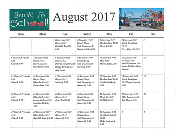 Activity Calendar of Rowley Masonic Community, Assisted Living, Nursing Home, Independent Living, CCRC, Perry, IA 2