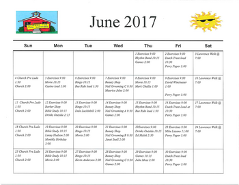 Activity Calendar of Rowley Masonic Community, Assisted Living, Nursing Home, Independent Living, CCRC, Perry, IA 7