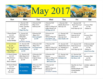 Activity Calendar of Rowley Masonic Community, Assisted Living, Nursing Home, Independent Living, CCRC, Perry, IA 8