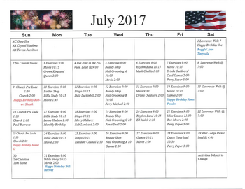 Activity Calendar of Rowley Masonic Community, Assisted Living, Nursing Home, Independent Living, CCRC, Perry, IA 9