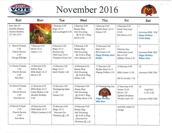 Activity Calendar of Rowley Masonic Community, Assisted Living, Nursing Home, Independent Living, CCRC, Perry, IA 10