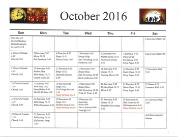 Activity Calendar of Rowley Masonic Community, Assisted Living, Nursing Home, Independent Living, CCRC, Perry, IA 11