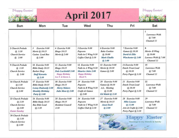 Activity Calendar of Rowley Masonic Community, Assisted Living, Nursing Home, Independent Living, CCRC, Perry, IA 1