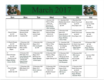 Activity Calendar of Rowley Masonic Community, Assisted Living, Nursing Home, Independent Living, CCRC, Perry, IA 4