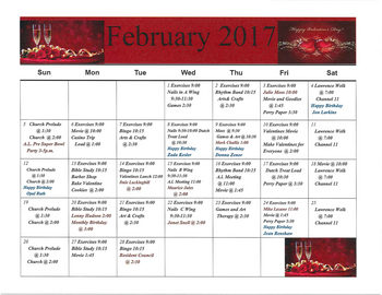 Activity Calendar of Rowley Masonic Community, Assisted Living, Nursing Home, Independent Living, CCRC, Perry, IA 5