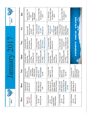 Activity Calendar of Rowley Masonic Community, Assisted Living, Nursing Home, Independent Living, CCRC, Perry, IA 6