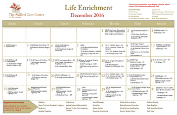 Activity Calendar of The Cedars Maine, Assisted Living, Nursing Home, Independent Living, CCRC, Portland, ME 1