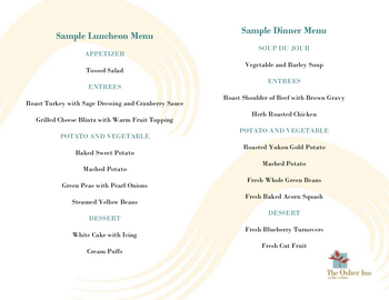 Dining menu of The Cedars Maine, Assisted Living, Nursing Home, Independent Living, CCRC, Portland, ME 1