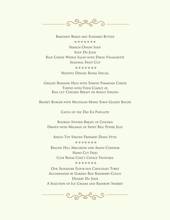 Dining menu of Beacon Hill, Assisted Living, Nursing Home, Independent Living, CCRC, Grand Rapids, MI 1