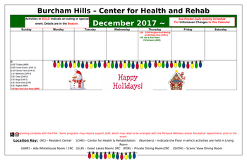 Activity Calendar of Burcham Hills, Assisted Living, Nursing Home, Independent Living, CCRC, East Lansing, MI 10