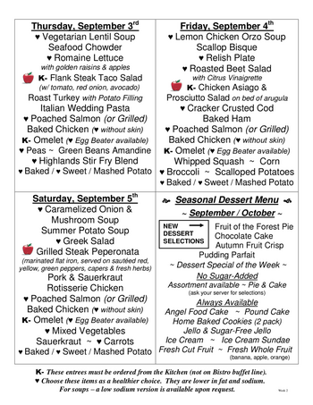 Dining menu of The Highlands at Wyomissing, Assisted Living, Nursing Home, Independent Living, CCRC, Wyomissing, PA 3