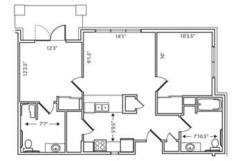 Floorplan of Garden Plaza of Aurora, Assisted Living, Nursing Home, Independent Living, CCRC, Aurora, CO 2